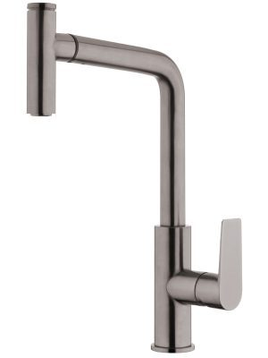 Voda Olympia High Rise Pullout Sink Mixer in Brushed Gunmetal VOP14BG